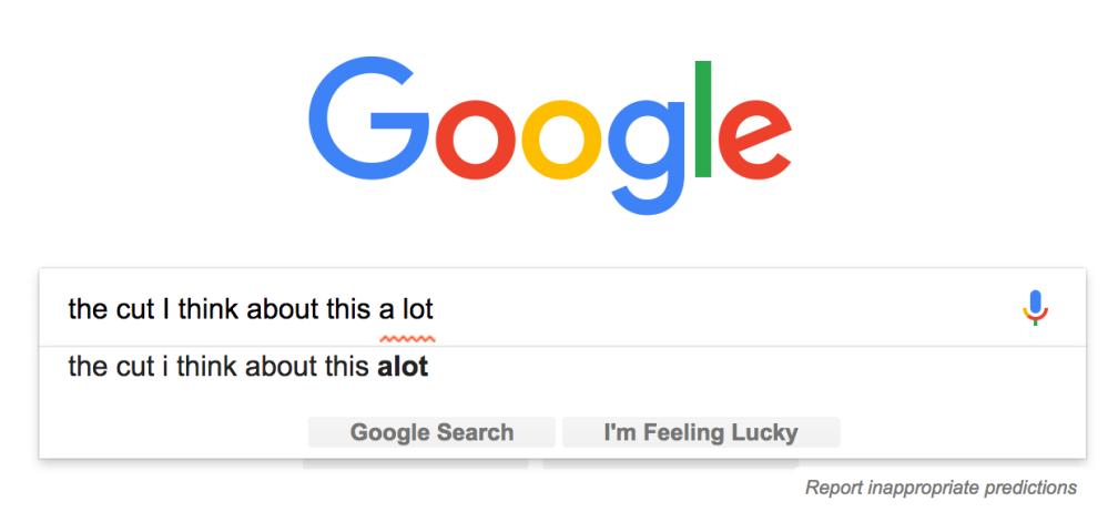 Google alot typo